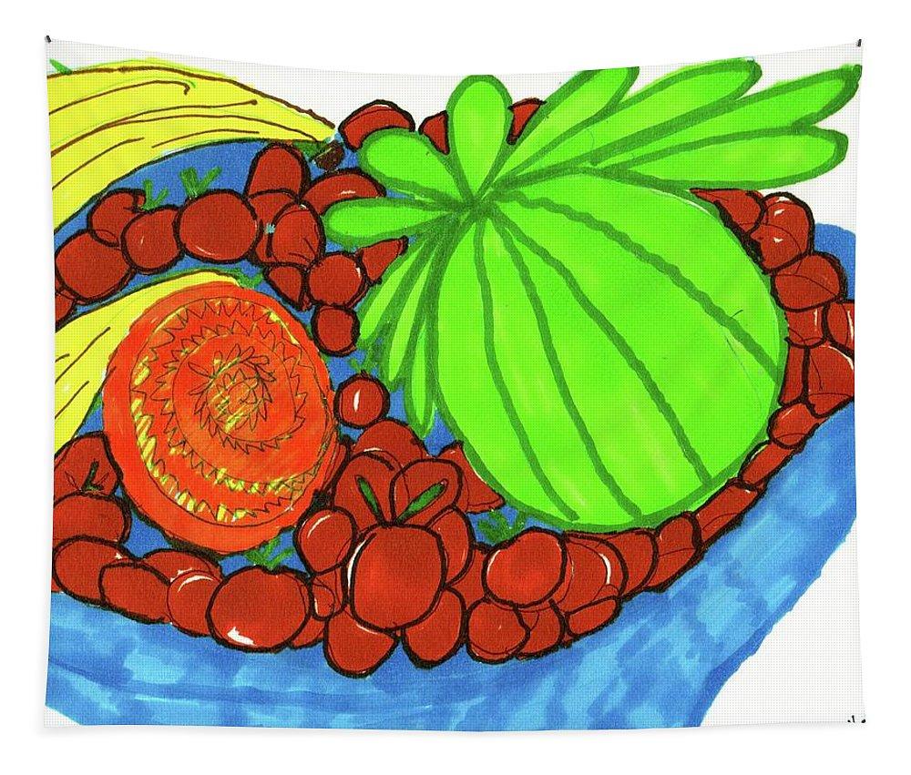 Cherries Bananas Kiwi An Orange Slicen. Tapestry featuring the mixed media Fruit In A Blue Bowl by Elinor Helen Rakowski
