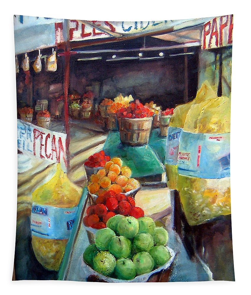 Fruit Tapestry featuring the painting Fruitstand Rhythms by Linda Shackelford