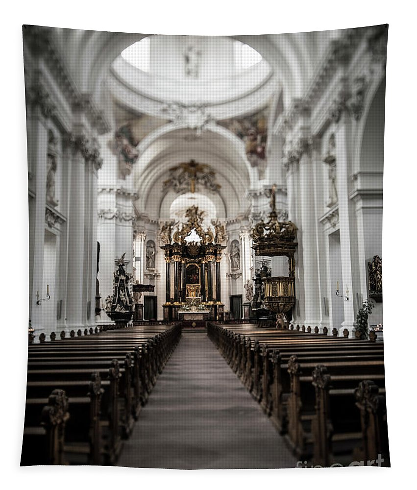 Church Tapestry featuring the photograph Fulda Cathedral Inside by Alex Hiemstra