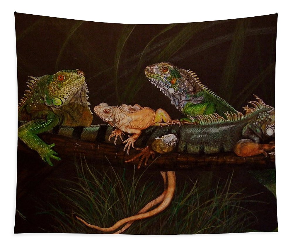Iguana Tapestry featuring the drawing Full House by Barbara Keith