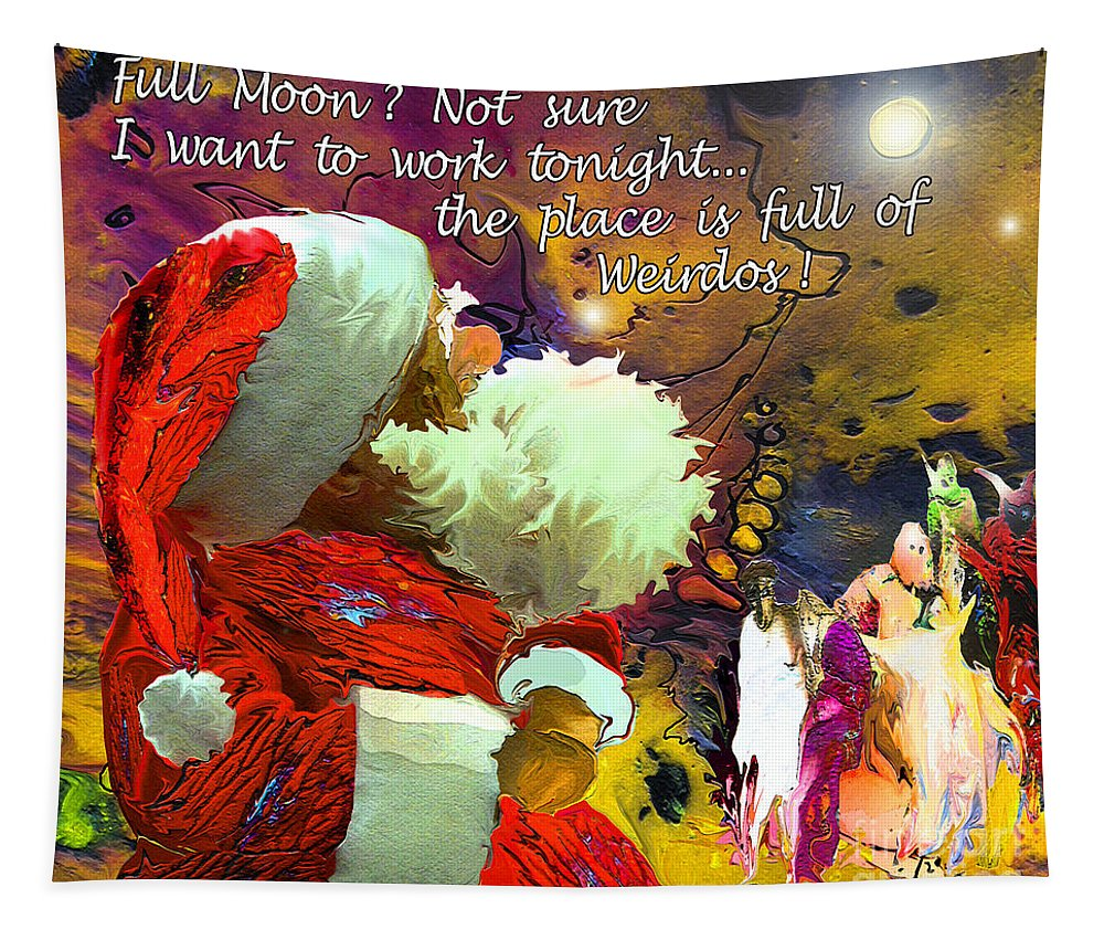 Fantasy Painting Tapestry featuring the painting Full Moon by Miki De Goodaboom