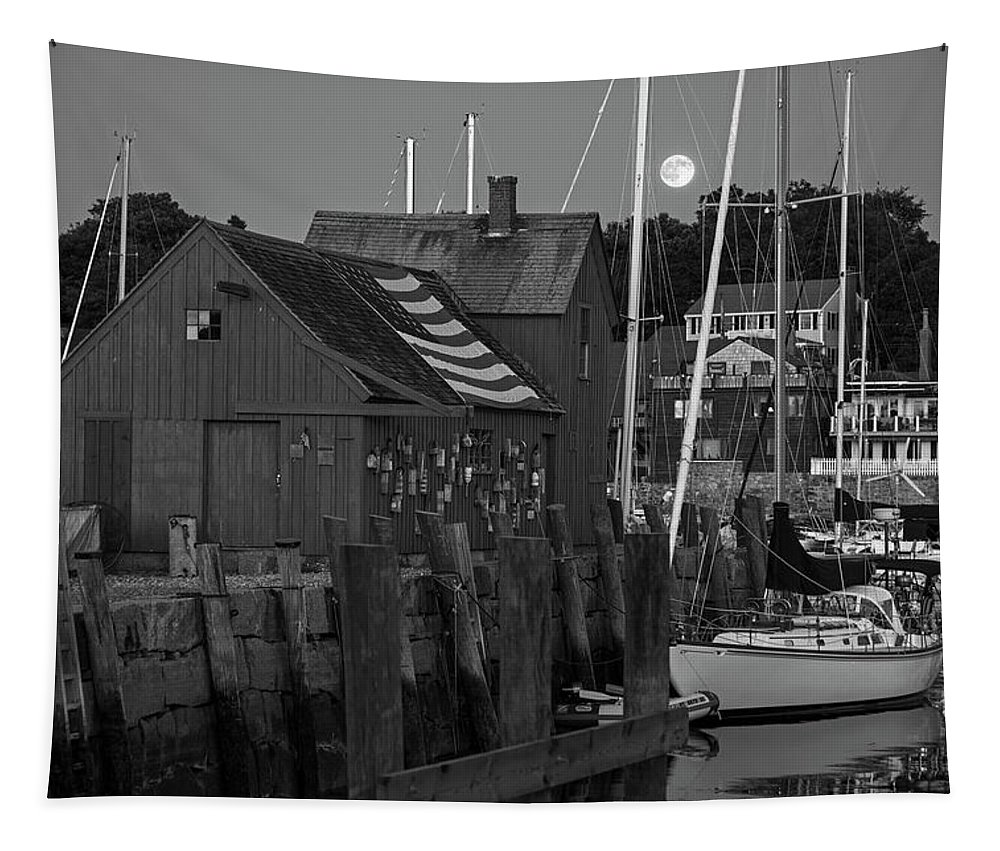Rockport Tapestry featuring the photograph Full Moon Rising Over Motif Number 1 Rockport Ma Black And White by Toby McGuire