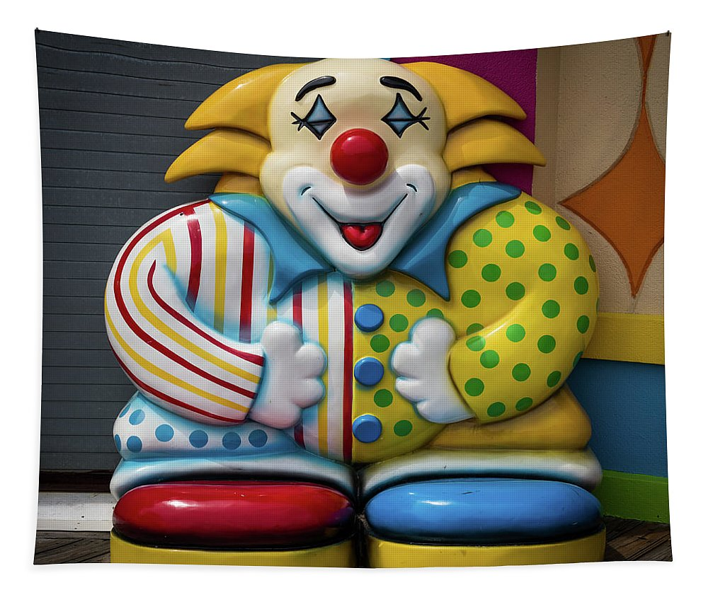 Terry D Photography Tapestry featuring the photograph Fun House Clown Point Pleasant Nj Boardwalk by Terry DeLuco