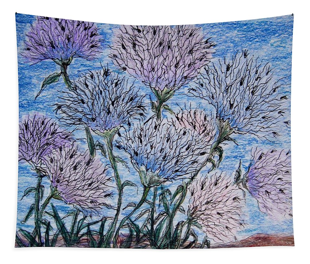 Flowers Tapestry featuring the drawing Funky Flowers by Megan Walsh