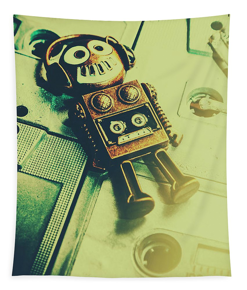 Mixtape Tapestry featuring the photograph Funky Mixtape Robot by Jorgo Photography - Wall Art Gallery
