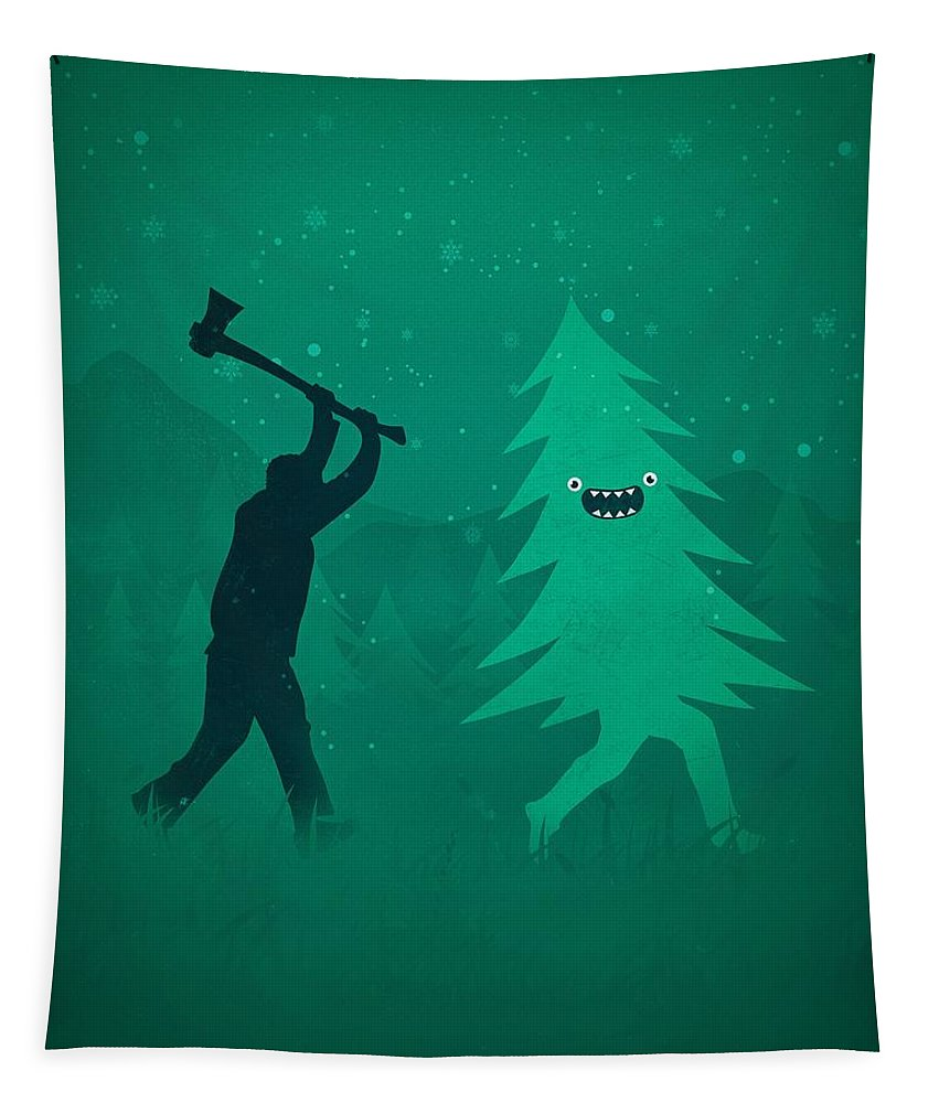 Cute Tapestry featuring the digital art Funny Cartoon Christmas tree is chased by Lumberjack Run Forrest Run by Philipp Rietz