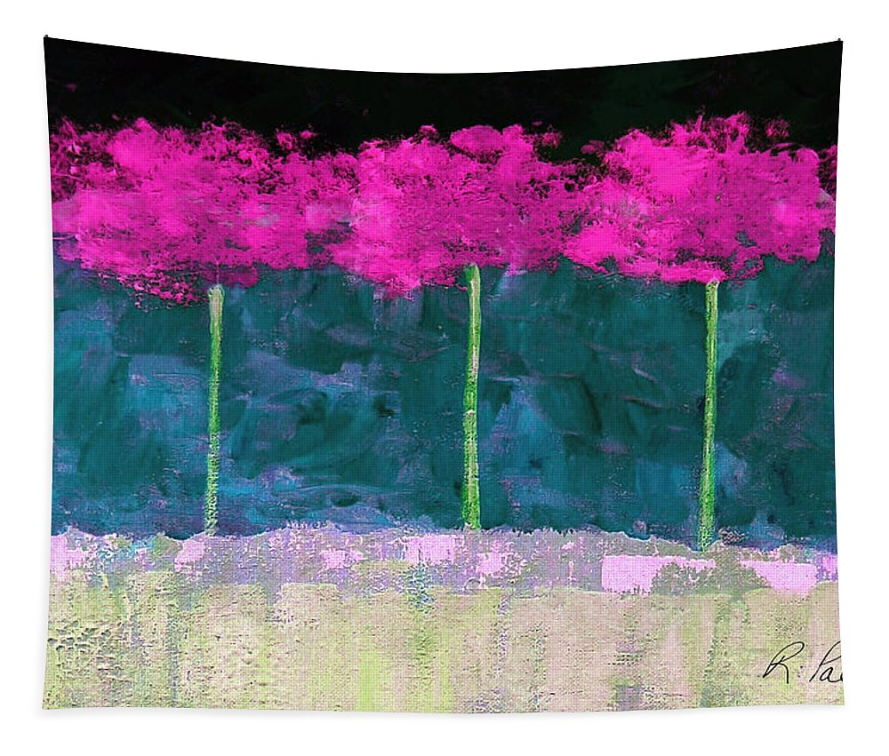 Abstract Tapestry featuring the painting Fuschia Trees by Ruth Palmer
