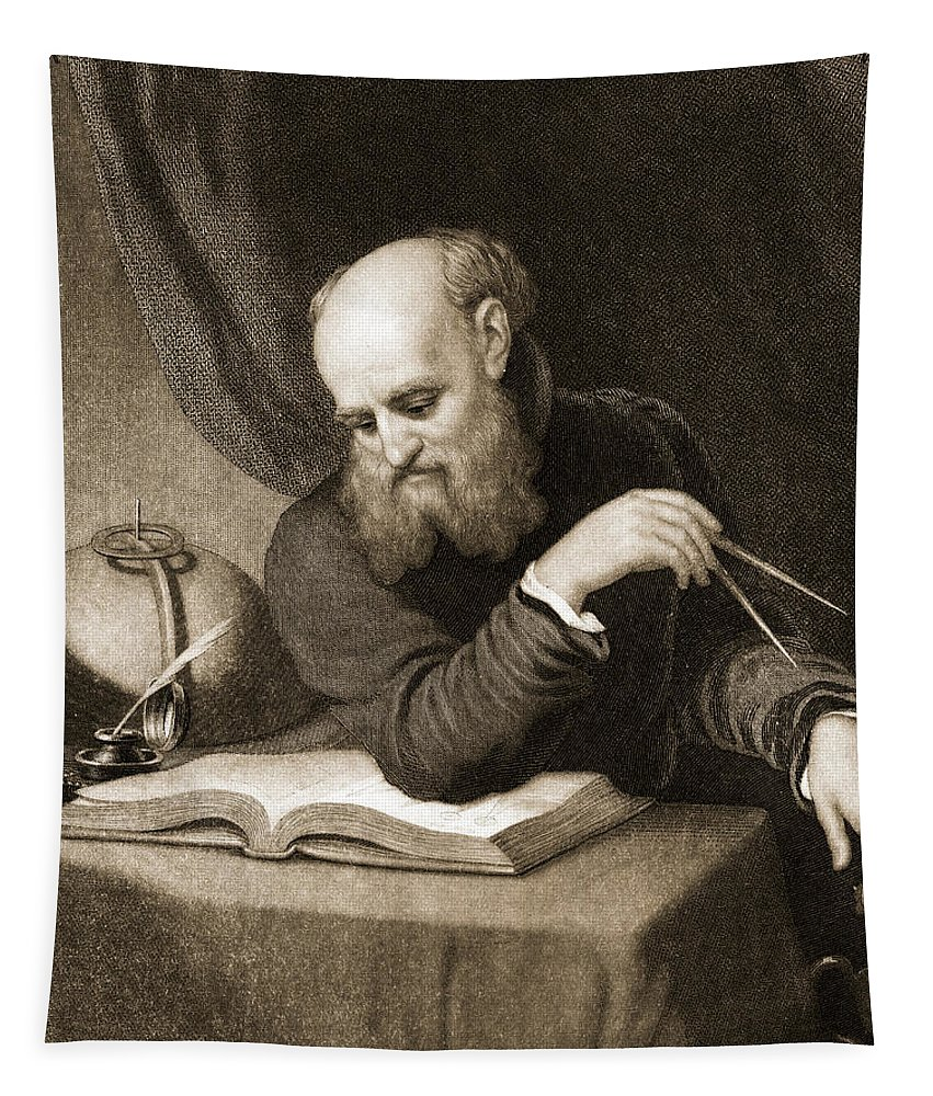 Galileo Galilei Tapestry featuring the painting Galileo With Compass And Diagrams by American School