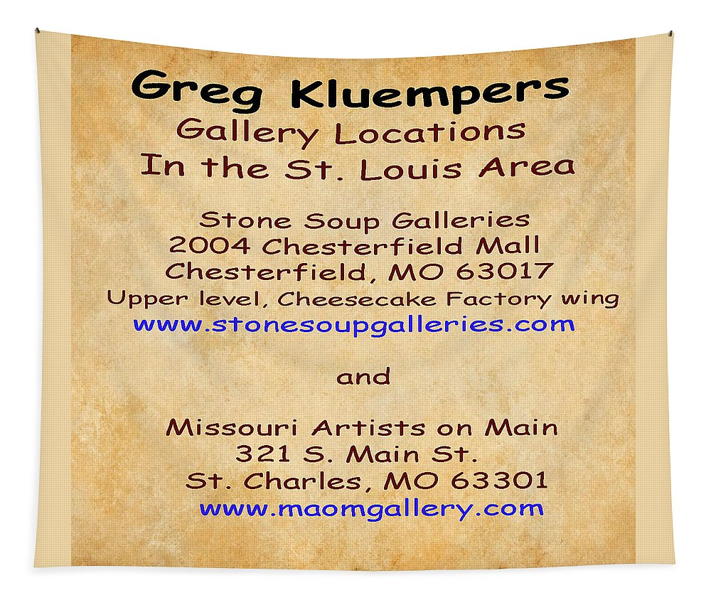 Gallery Locations Tapestry featuring the photograph Gallery Locations In The St. Louis Area by Greg Kluempers