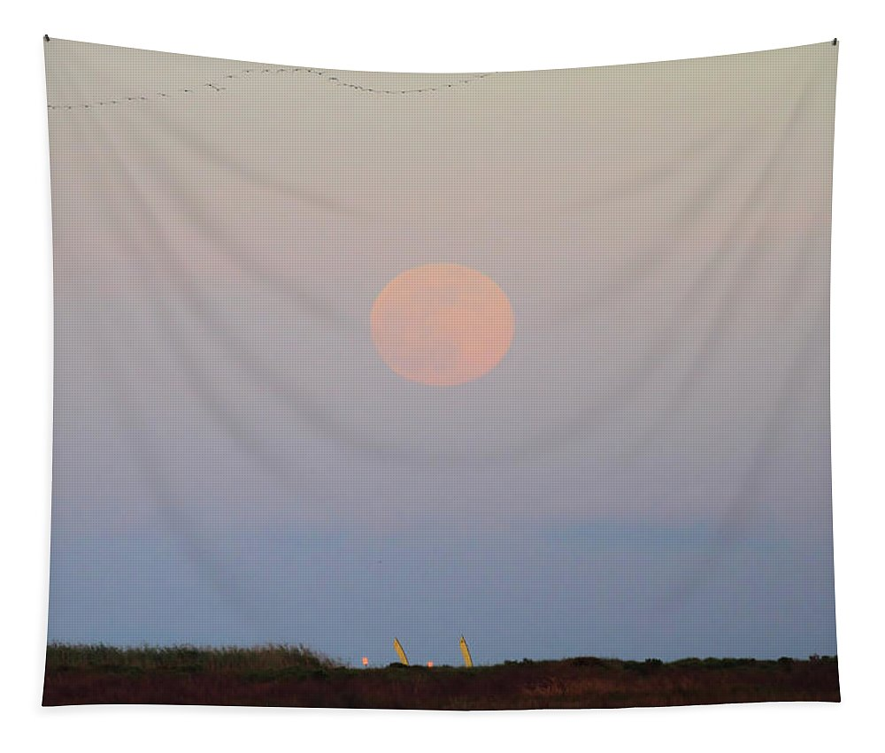 Moonrise Tapestry featuring the photograph Galveston Bay Strawberry Full Moon by Katrina Lau