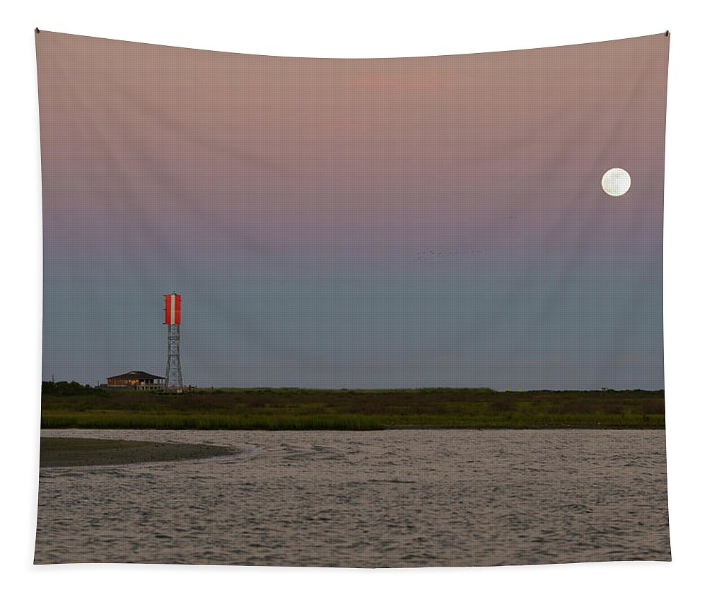 Romantic Tapestry featuring the photograph Galveston Island Strawberry Moon Sunset by Katrina Lau