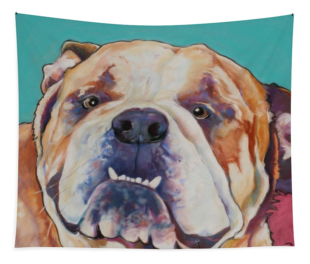 Pat Saunders-white Pet Portraits Tapestry featuring the painting Game Face  by Pat Saunders-White