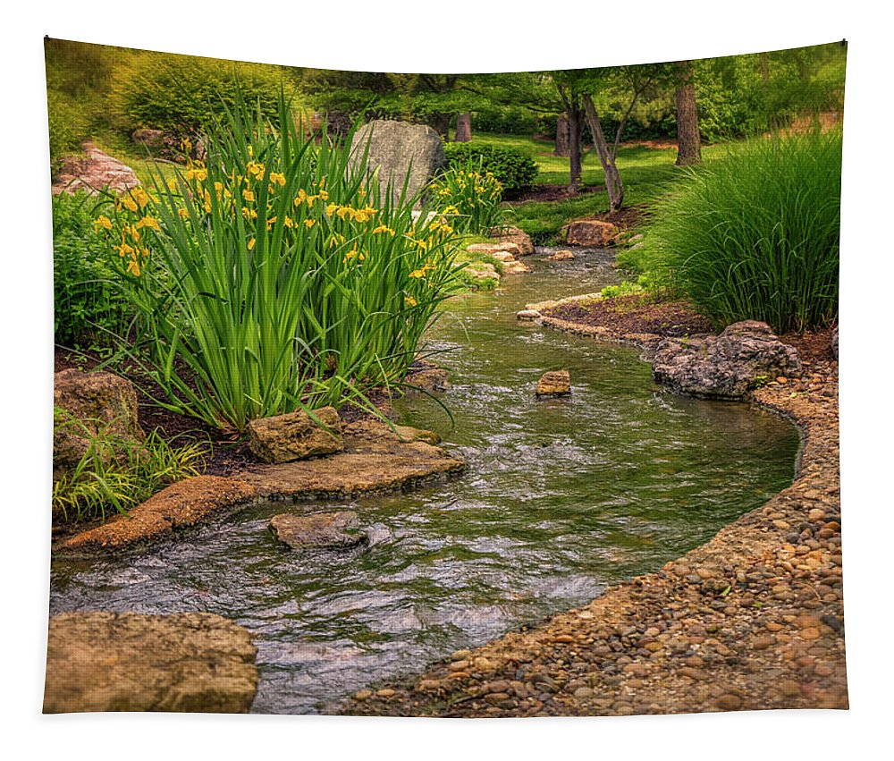 Midwest Tapestry featuring the photograph Garden Creek And Iris_dsc4817_16 by Greg Kluempers
