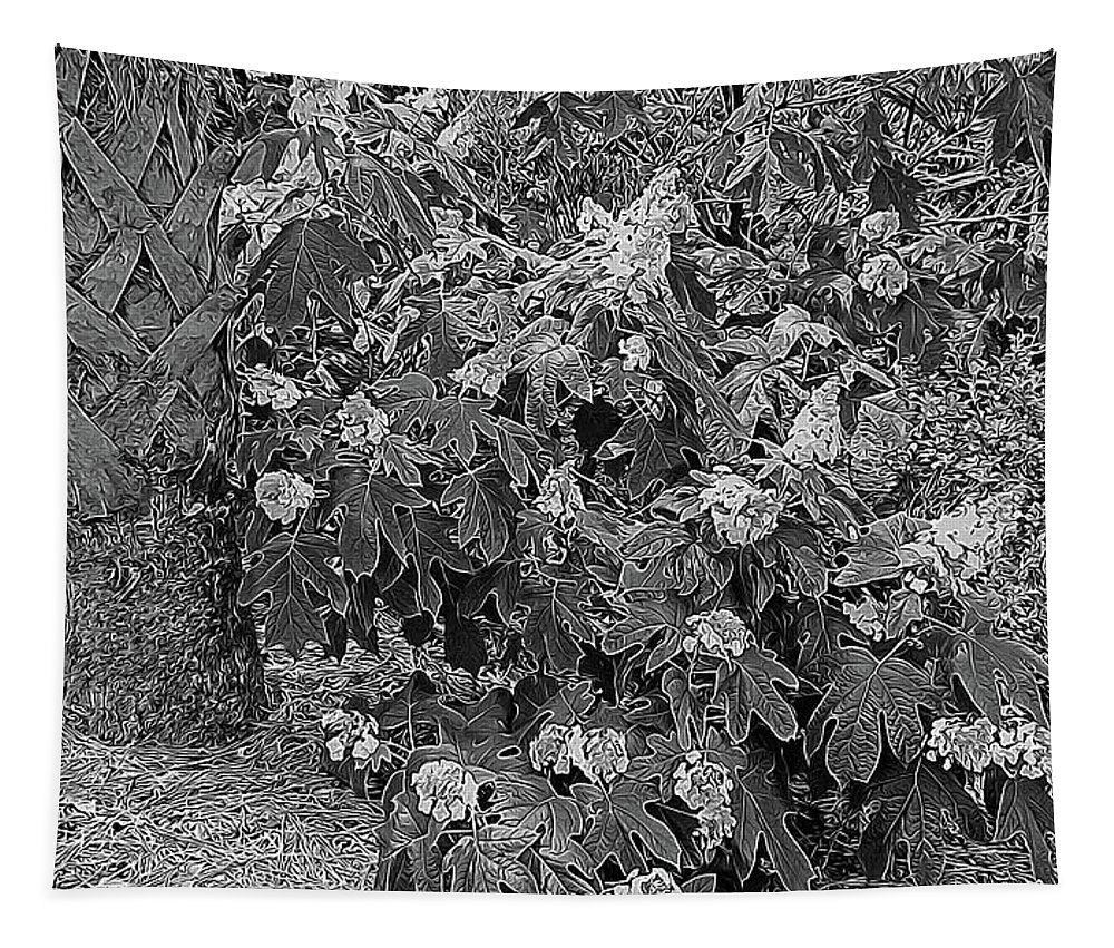 Photography Tapestry featuring the digital art Garden Hydrangeas In Grayscale by Marian Bell