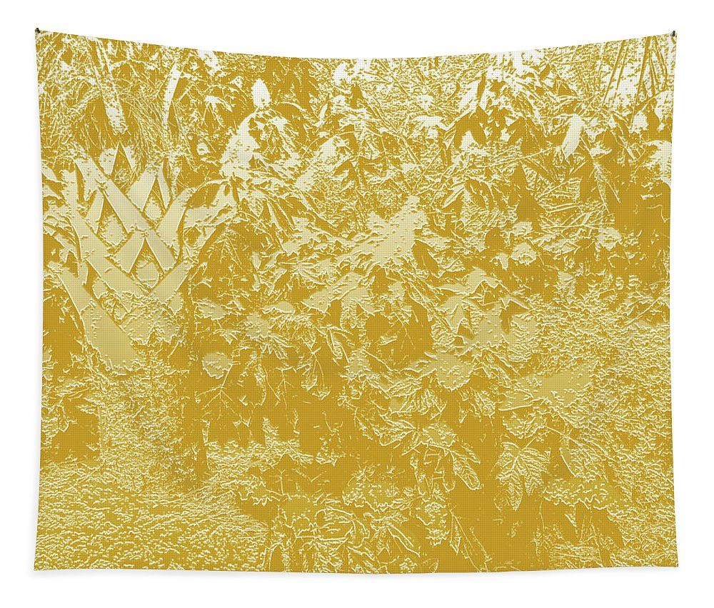 Photography Tapestry featuring the digital art Garden Hydrangeas Pencil Sketch In Gold Plaster by Marian Bell