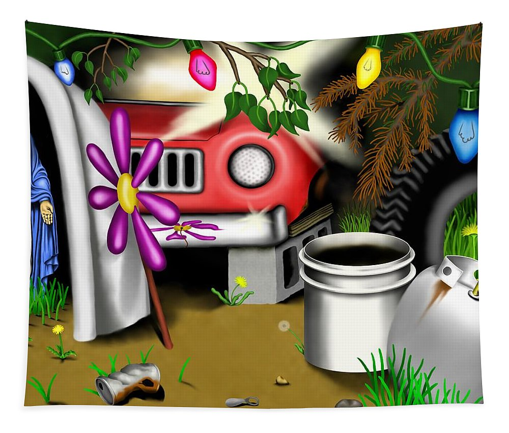 Surrealism Tapestry featuring the digital art Garden Landscape I - Into The Trailorpark by Robert Morin