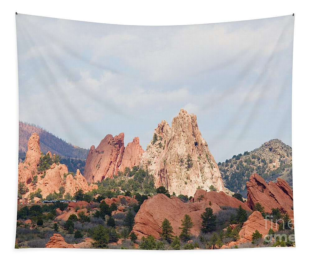 Garden Of The Gods Tapestry featuring the photograph Garden Of The Gods From A Distance by Steve Krull