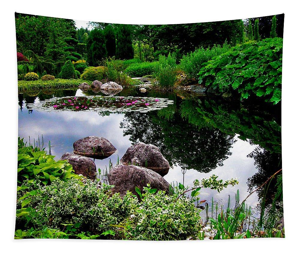 Garden Tapestry featuring the photograph Garden Reflections ... by Juergen Weiss