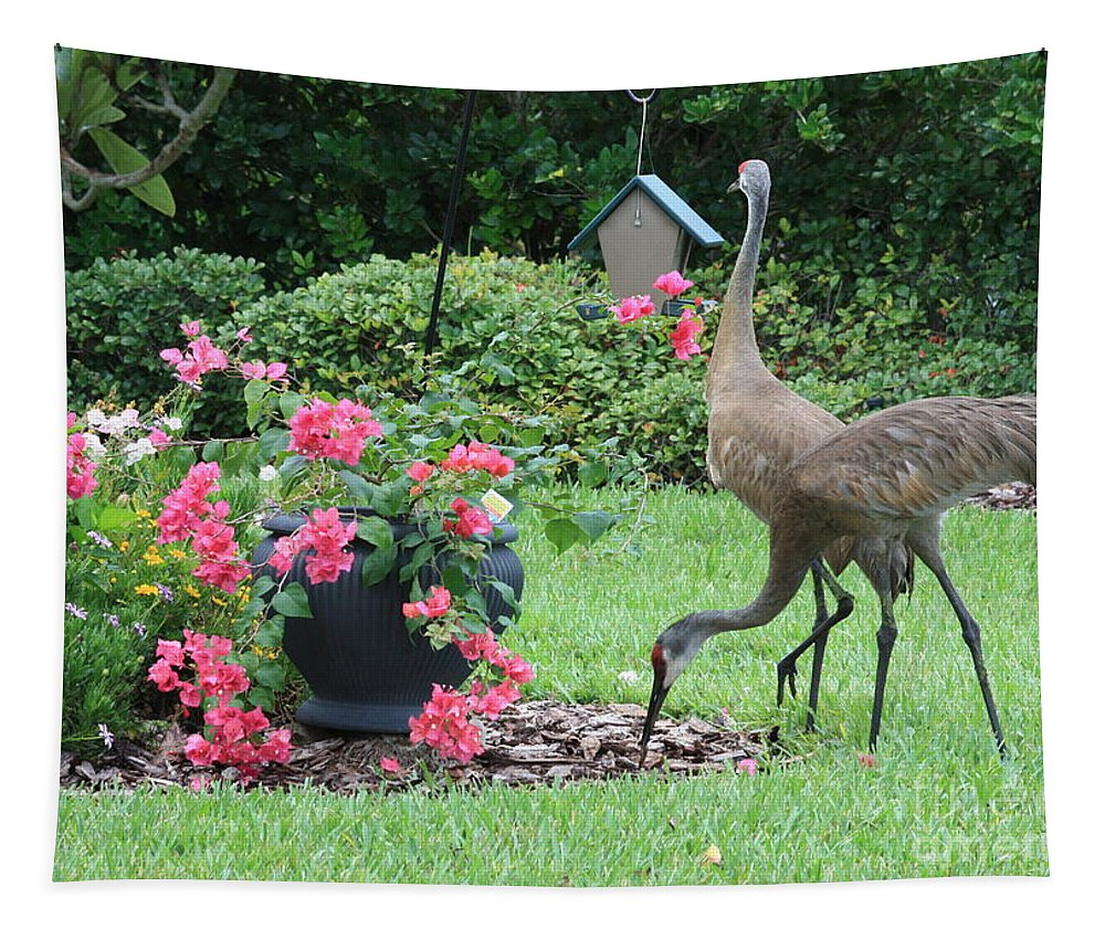 Garden Tapestry featuring the photograph Garden Visitors by Carol Groenen