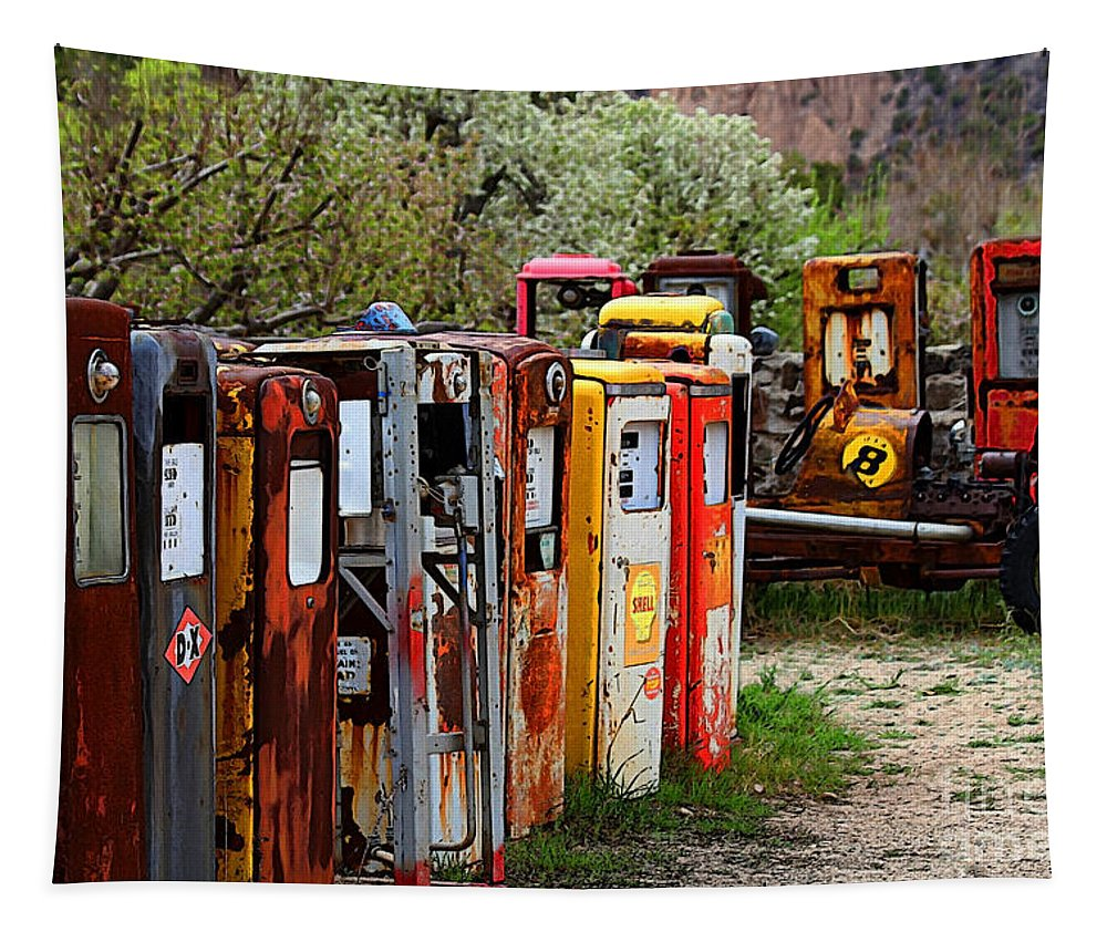 New Mexico Tapestry featuring the photograph Gas Pump Conga Line In New Mexico by Catherine Sherman