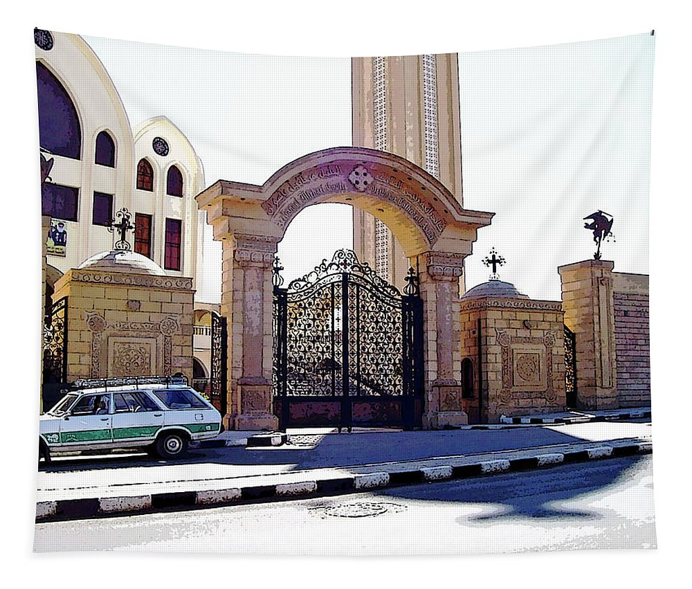 Aswan Tapestry featuring the photograph Gates Of Archangel Michael Cathedral by Debbie Oppermann