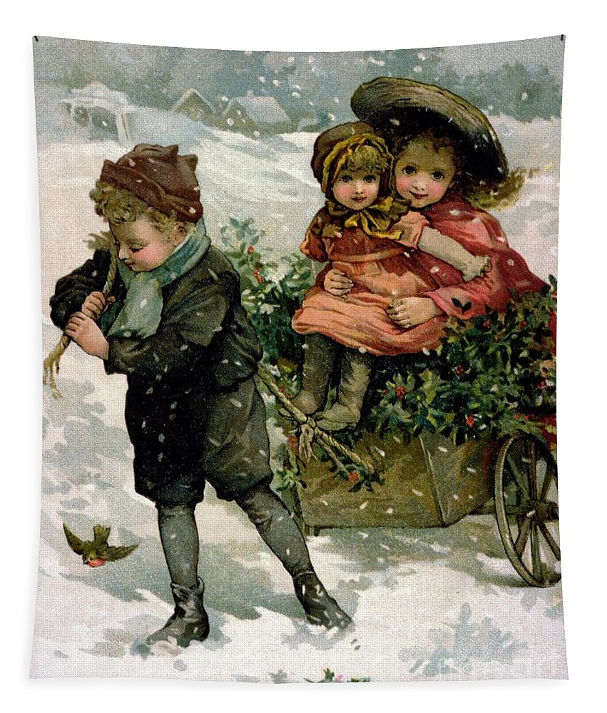 Child; Children; Cart; Pulling; Girls; Brother; Sister; Snow; Snowing; Christmas; Decoration; Winter Tapestry featuring the painting Gathering Holly by Lizzie Mack