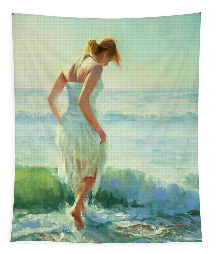 Seashore Tapestry featuring the painting Gathering Thoughts by Steve Henderson