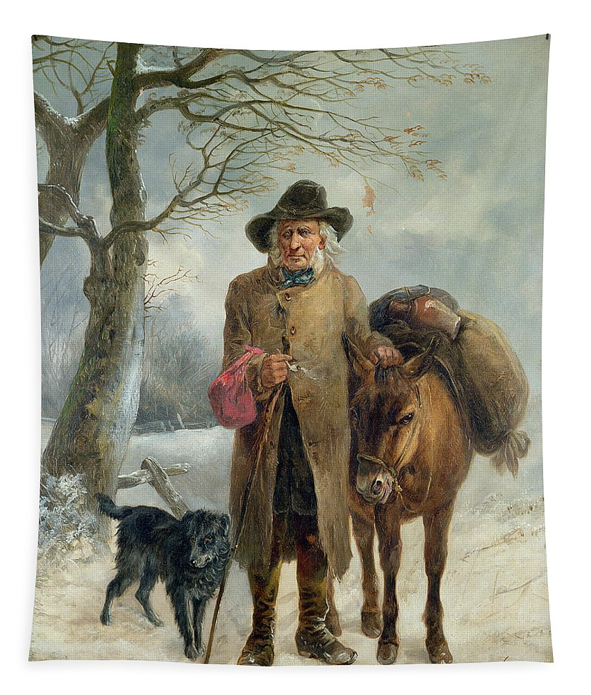 Gathering Tapestry featuring the painting Gathering Winter Fuel by John Barker