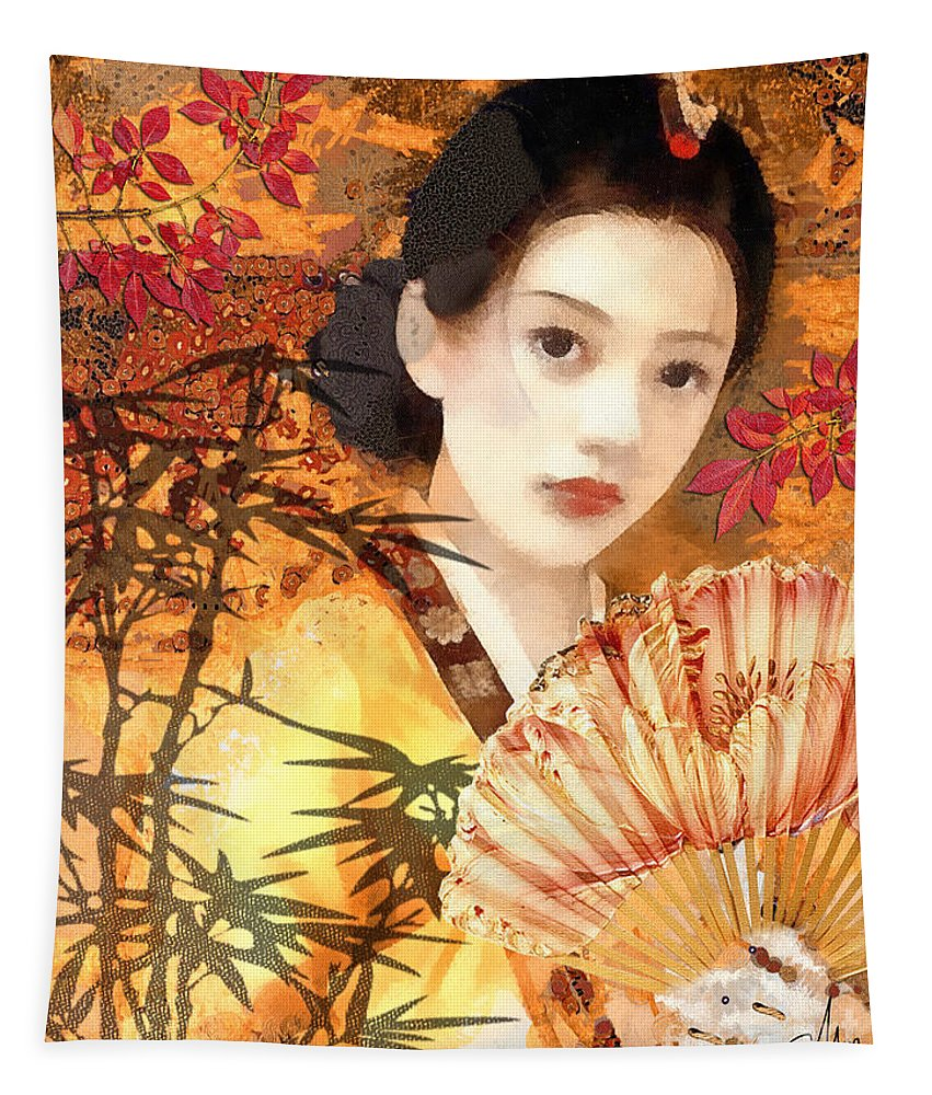 Geisha Tapestry featuring the painting Geisha with Fan by Mo T