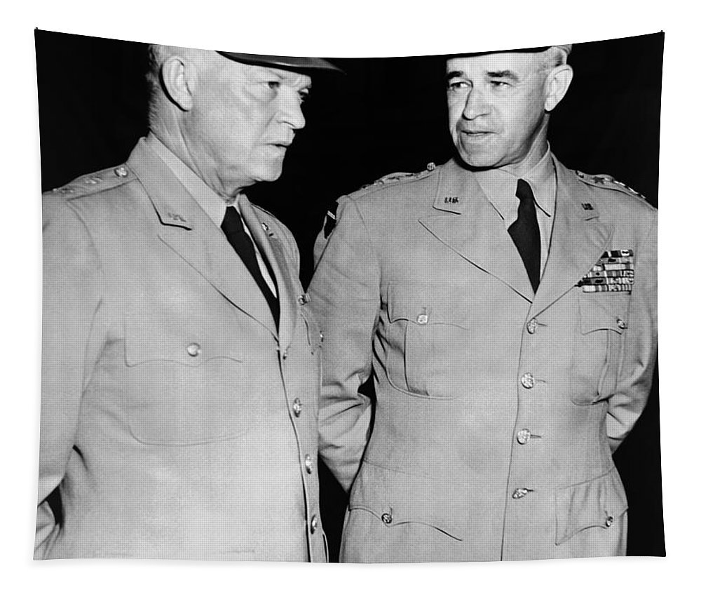 Ike Tapestry featuring the photograph General Eisenhower And General Bradley - 1948 by War Is Hell Store