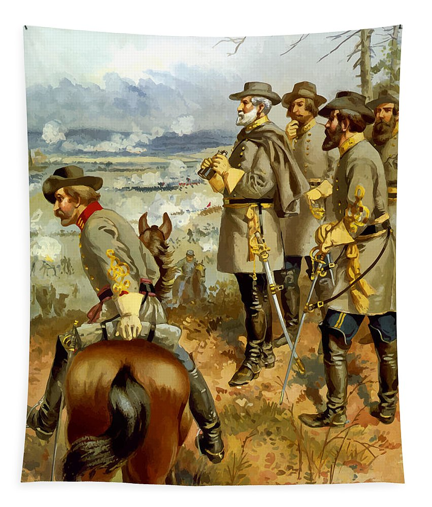 Civil War Tapestry featuring the painting General Lee At The Battle Of Fredericksburg by War Is Hell Store