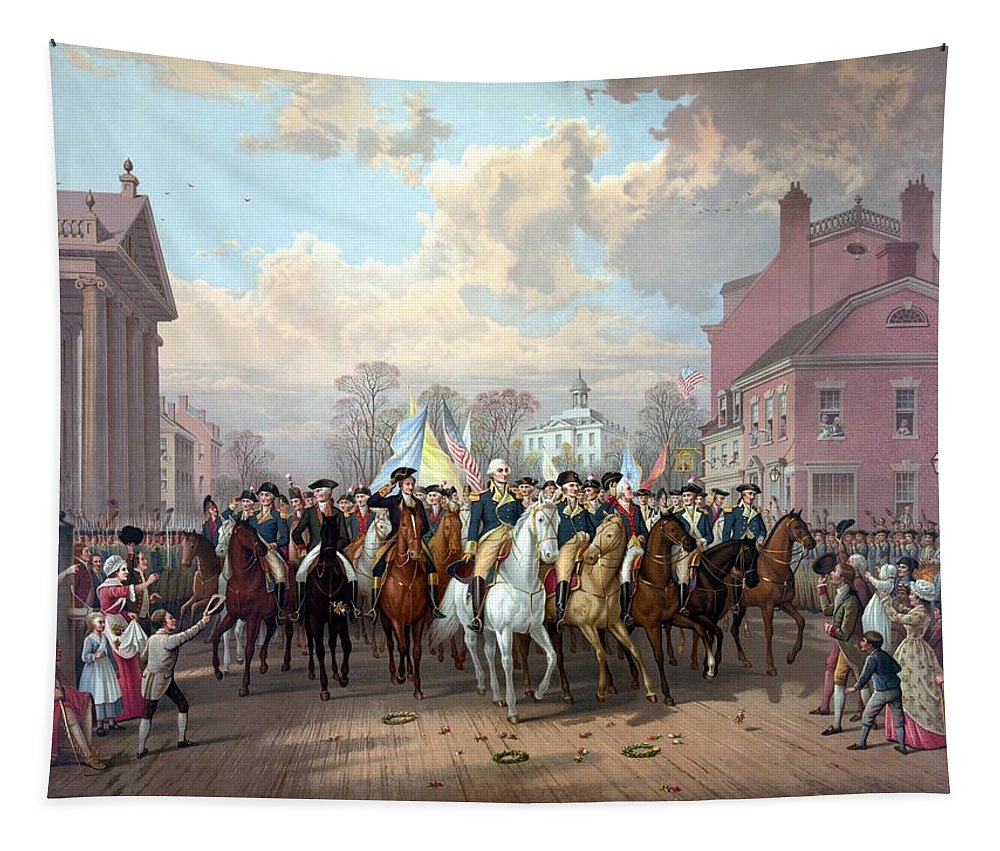 George Washington Tapestry featuring the painting General Washington Enters New York by War Is Hell Store
