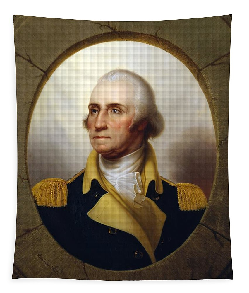 George Washington Tapestry featuring the painting General Washington - Porthole Portrait by War Is Hell Store