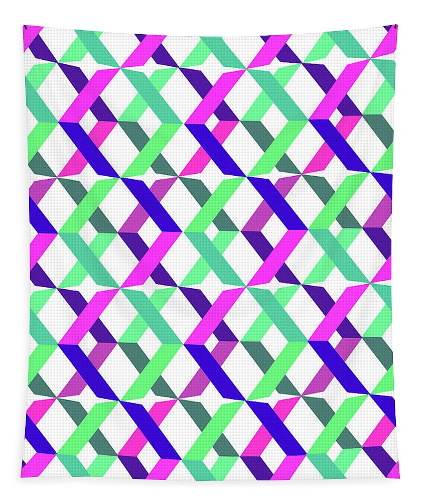 Crosses Tapestry featuring the digital art Geometric Crosses by Louisa Knight