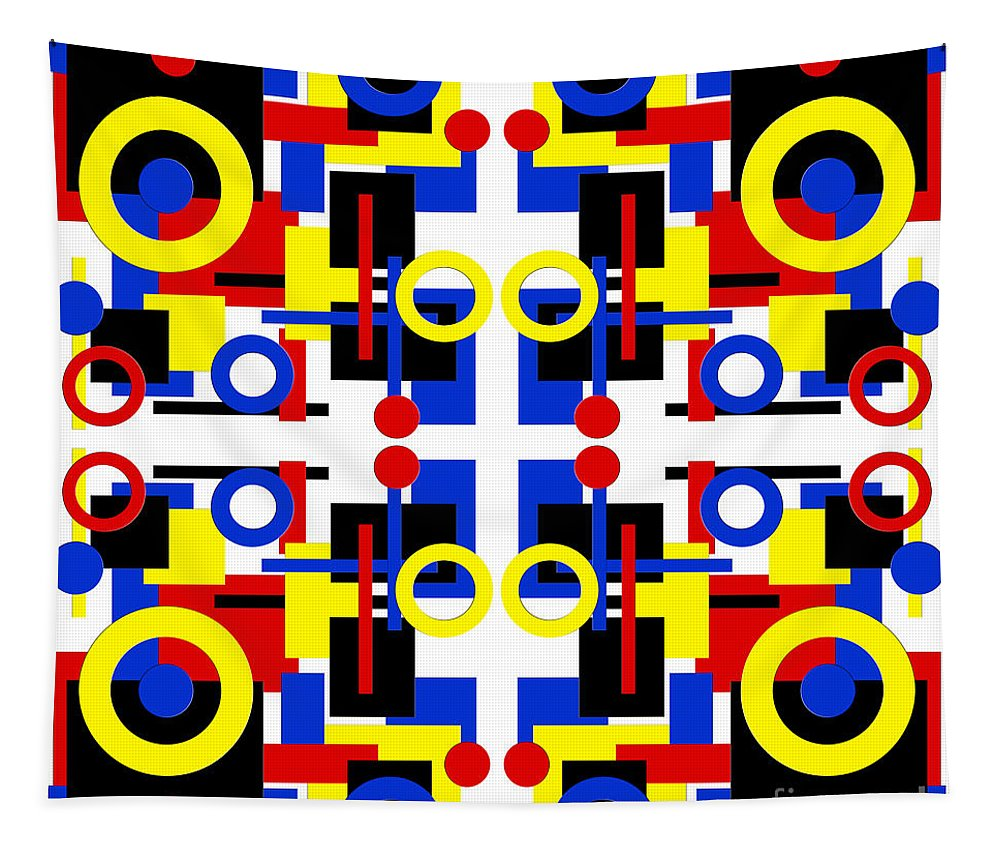 Andee Design Abstract Tapestry featuring the digital art Geometric Shapes Abstract Square 2 by Andee Design