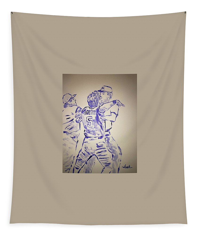 George Brett Tapestry featuring the painting George Brett Pine Tar by Jack Bunds