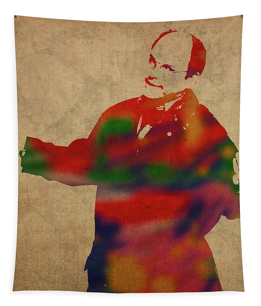 George Tapestry featuring the mixed media George Constanza Of Seinfeld Watercolor Portrait by Design Turnpike