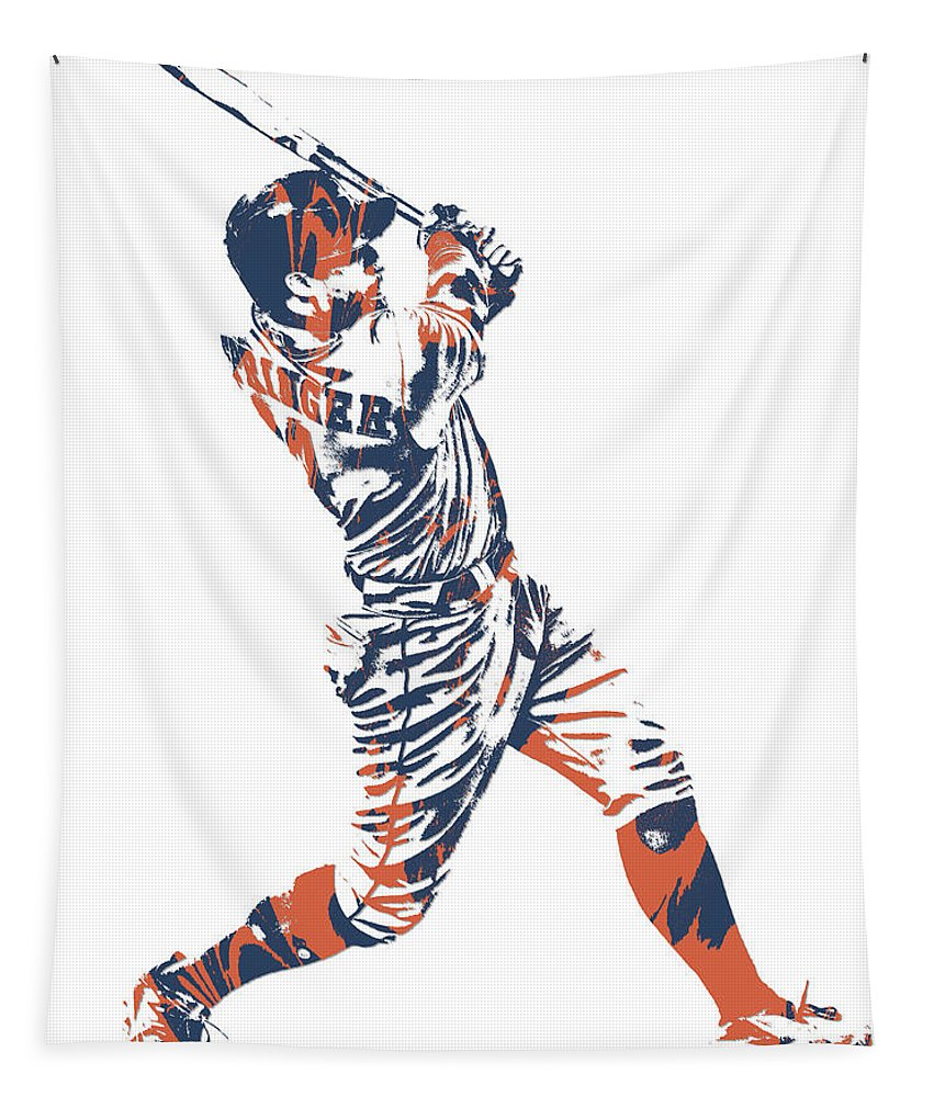George Springer Tapestry featuring the mixed media George Springer Houston Astros Pixel Art 11 by Joe Hamilton