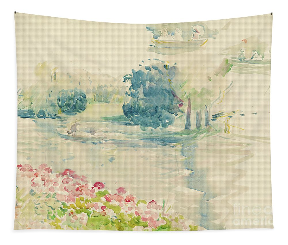 Geraniums By The Lake Tapestry featuring the painting Geraniums By The Lake by Berthe Morisot