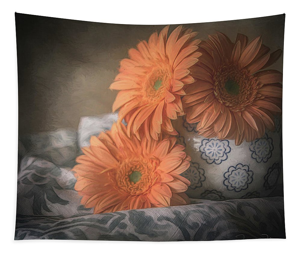 Floral Tapestry featuring the mixed media Gerbera Daisy Trio by Teresa Wilson