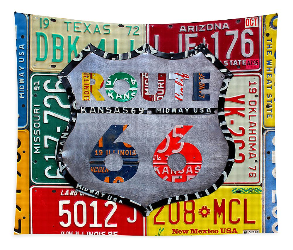 Get Your Kicks Tapestry featuring the mixed media Get Your Kicks On Route 66 Recycled Vintage State License Plate Art By Design Turnpike by Design Turnpike