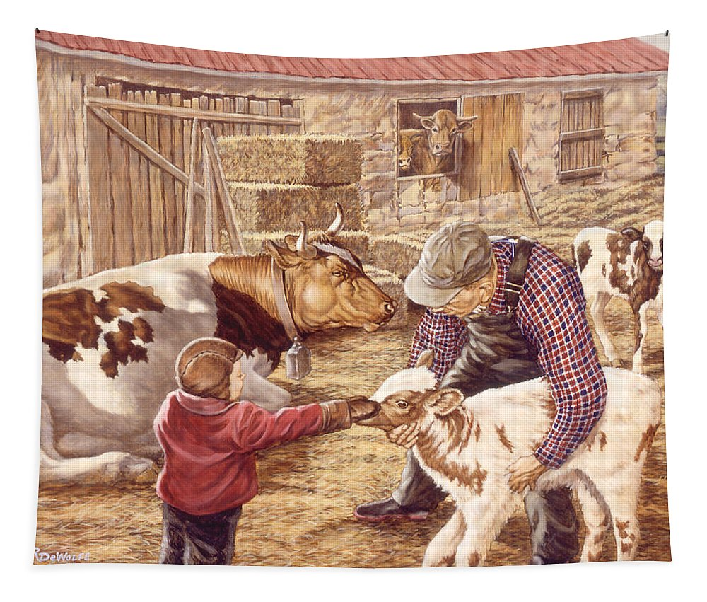 Farm Tapestry featuring the painting Getting Acquainted by Richard De Wolfe