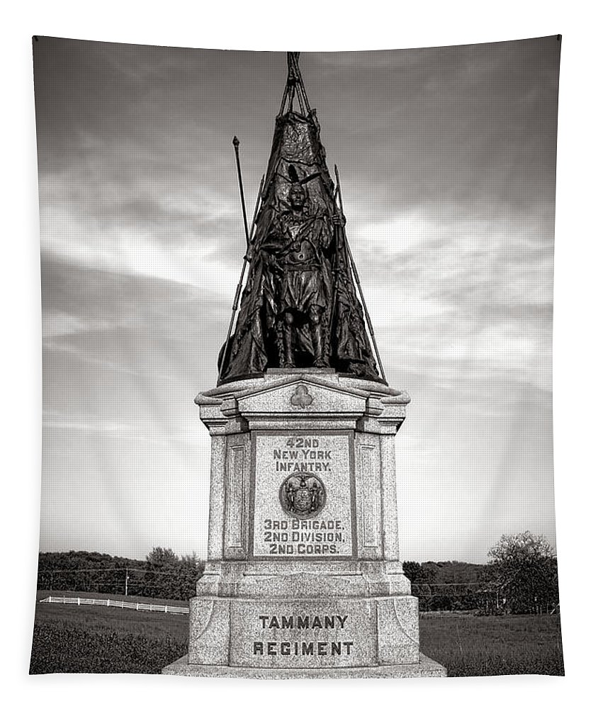 Gettysburg Tapestry featuring the photograph Gettysburg National Park 42nd New York Infantry Monument by Olivier Le Queinec