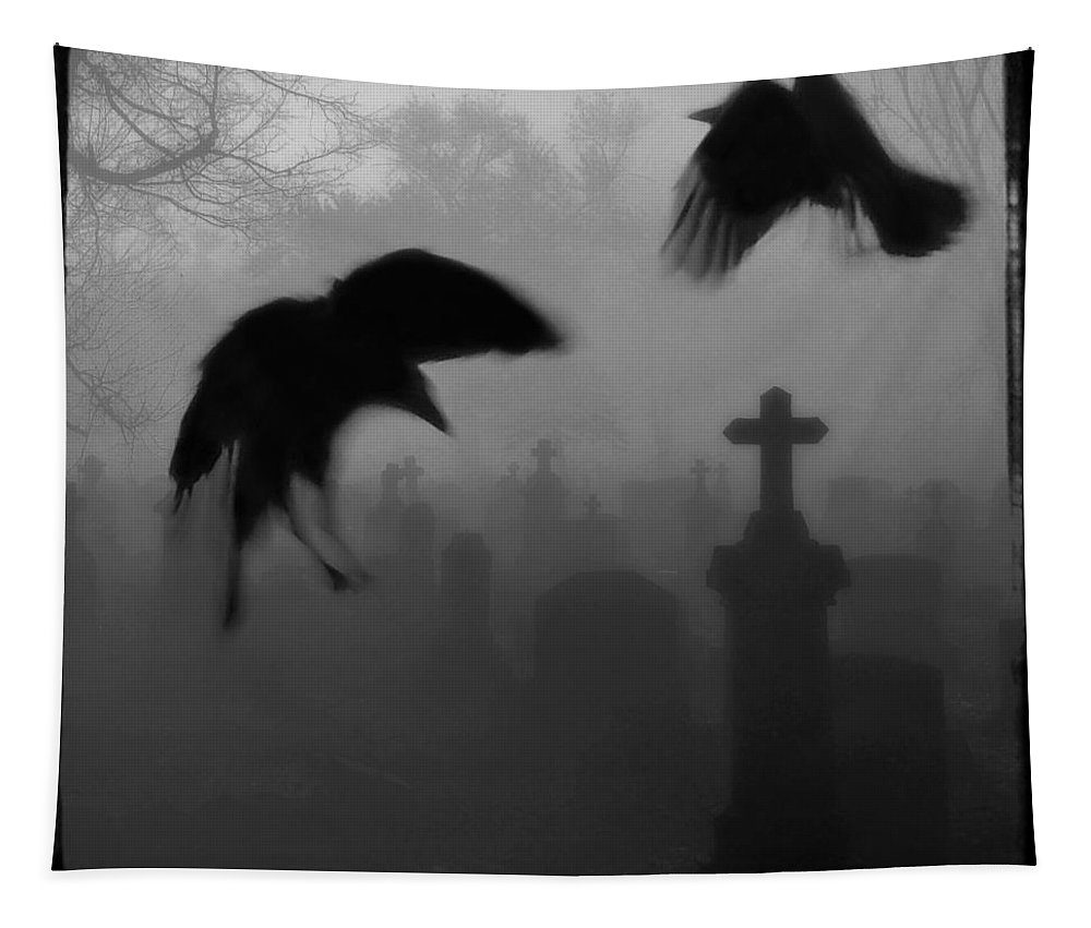 Crows Tapestry featuring the photograph Ghost Crows by Gothicrow Images