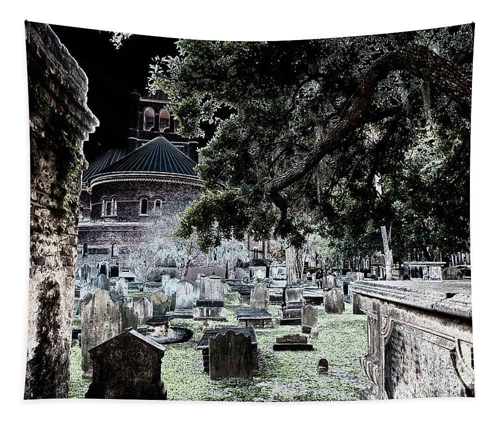 Church Tapestry featuring the photograph Ghostly Cemetary by Dale Powell