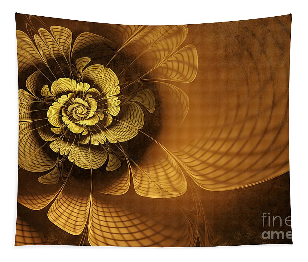 Flower Tapestry featuring the digital art Gilded Flower by John Edwards
