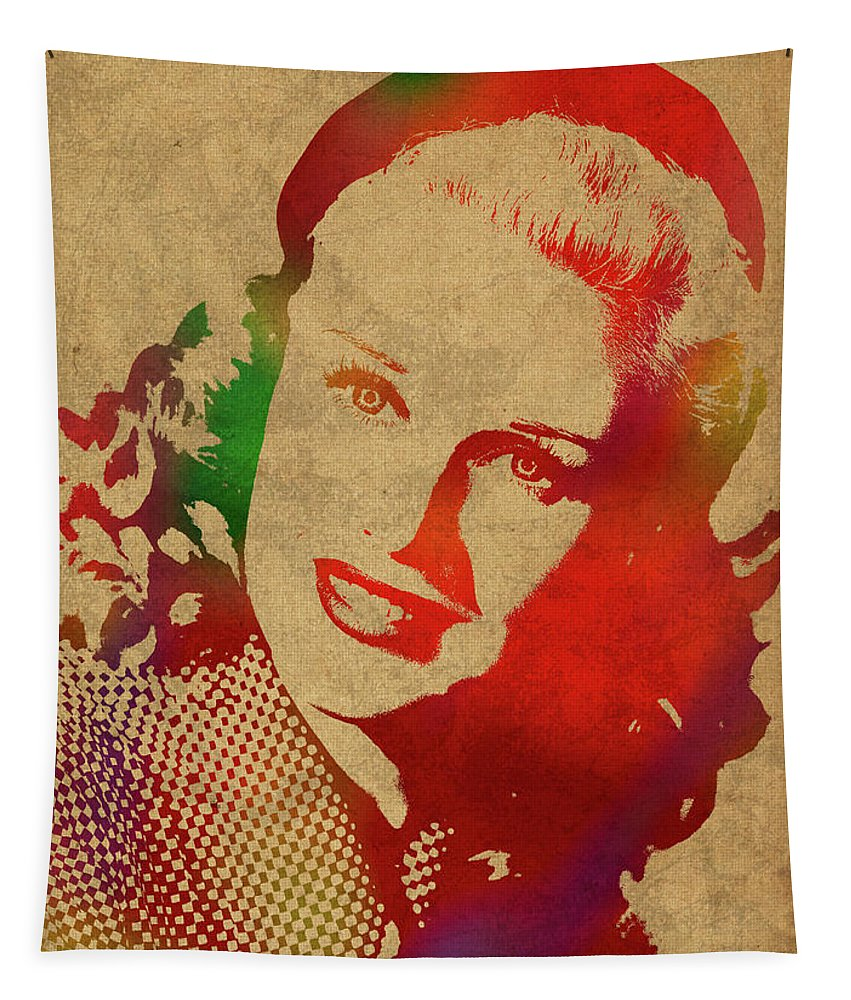 Ginger Rogers Tapestry featuring the mixed media Ginger Rogers Watercolor Portrait by Design Turnpike