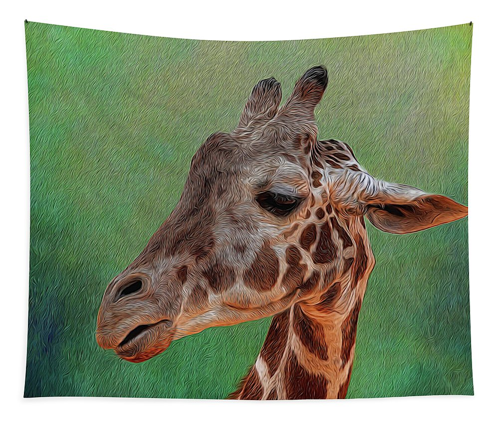 Giraffe Tapestry featuring the photograph Giraffe Square Painted by Judy Vincent