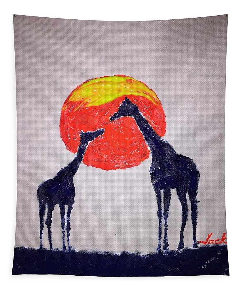 Giraffe Tapestry featuring the painting Giraffes by Jack Bunds