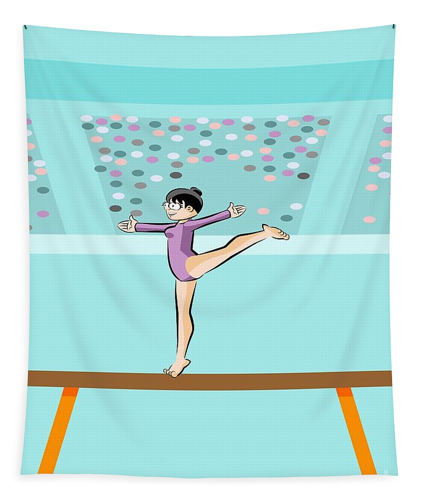 Balance Tapestry featuring the digital art Girl Jumps On One Foot On The Balance Beam by Daniel Ghioldi
